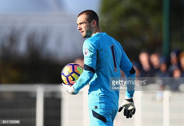 Pau Lopez of Tottenham Hotspur looks on during the Premier League 2 match between Tottenham Hotspur and Arsenal at Tottenham Hotspur Training Centre...