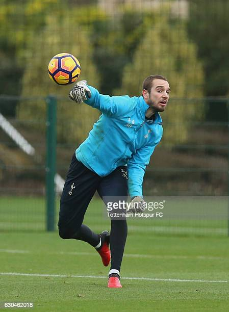 Pau Lopez thros the ball during a Tottenham Hotspur training session at Tottenham Hotspur Training Centre on December 23 2016 in Enfield England