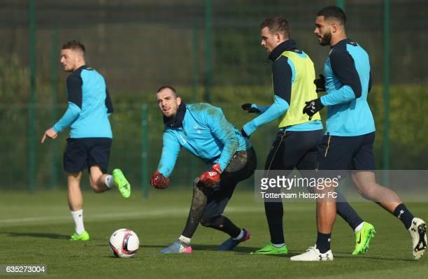 Pau Lopez Vincent Janssen and Cameron CarterVickers of Tottenham during the Tottenham Hotspur training session at Tottenham Hotspur Training Centre...