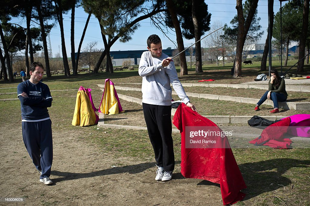 Pau Piriz (C), 33, practices bullfighting in a city park in Santa Perpetua de la Mogoda on March 3, 2013 in Barcelona, Spain. On February 12 the Spanish Parliament accepted a petition from bullfight supporters asking for the sport to become a key part of the Spain's cultural heritage. The petition, of 590,000 signatures, has been promoted by the Federation of Bullfighting Entities of Catalonia. The last bullfight in Catalonia was held in September 25, 2011.