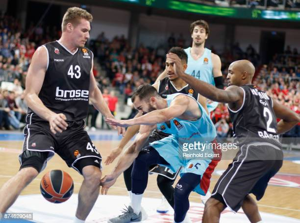 Pau Ribas #5 of FC Barcelona Lassa competes withLeon Radosevic #43 of Brose Bamberg in action during the 2017/2018 Turkish Airlines EuroLeague...