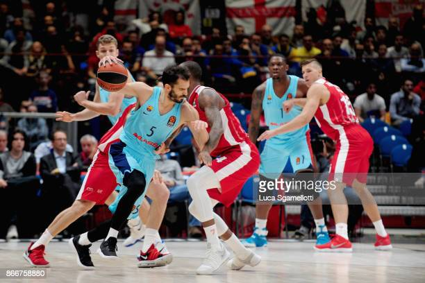 Pau Ribas #5 of FC Barcelona Lassa in action during the 2017/2018 Turkish Airlines EuroLeague Regular Season Round 4 game between AX Armani Exchange...