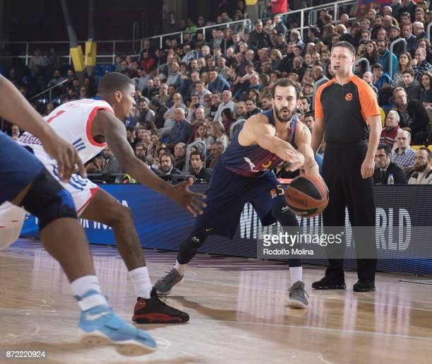 Pau Ribas #5 of FC Barcelona Lassa in action during the 2017/2018 Turkish Airlines EuroLeague Regular Season Round 6 game between FC Barcelona Lassa...