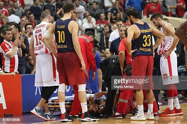 Pau Ribas #8 of FC Barcelona Lassa lies injured during the 2016/2017 Turkish Airlines EuroLeague Regular Season Round 3 game between Crvena Zvezda...