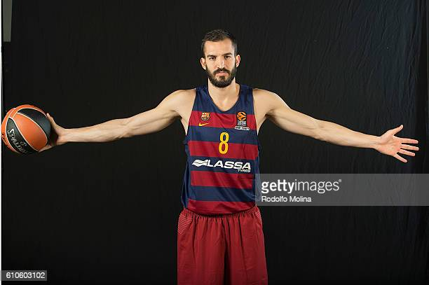 Pau Ribas #8 of FC Barcelona Lassa poses during the 2016/2017 Turkish Airlines EuroLeague Media Day at Palau Blaugrana on September 26 2016 in...