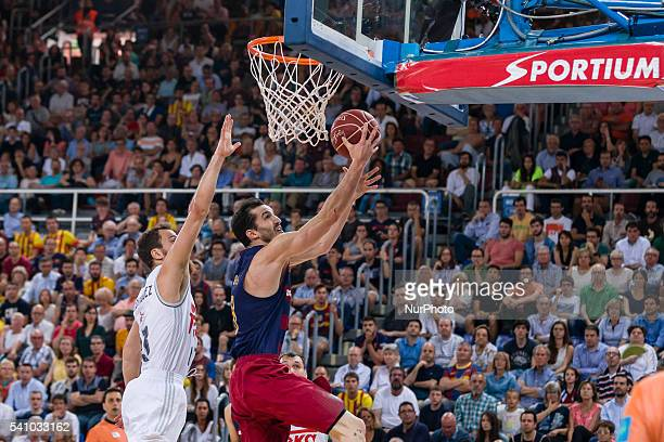 Pau Ribas and Llull in action during the Endesa Play Off match between FC Barcelona Lassa Real Madrid for the Final Round 2 played at Palau Blaugrana...
