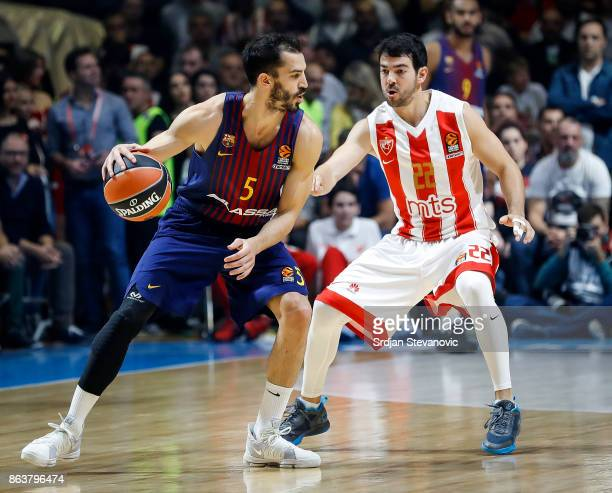 Pau Ribas of Barcelona in action against Taylor Rochestie of Crvena Zvezda during the 2017/2018 Turkish Airlines EuroLeague Regular Season game...