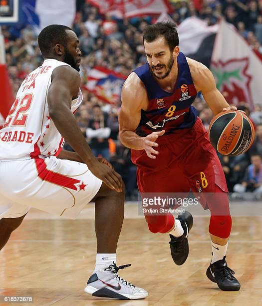 Pau Ribas of Barcelona Lassa in action against Charles Jenkins of Crvena Zvezda during the 2016/2017 Turkish Airlines EuroLeague Regular Season Round...
