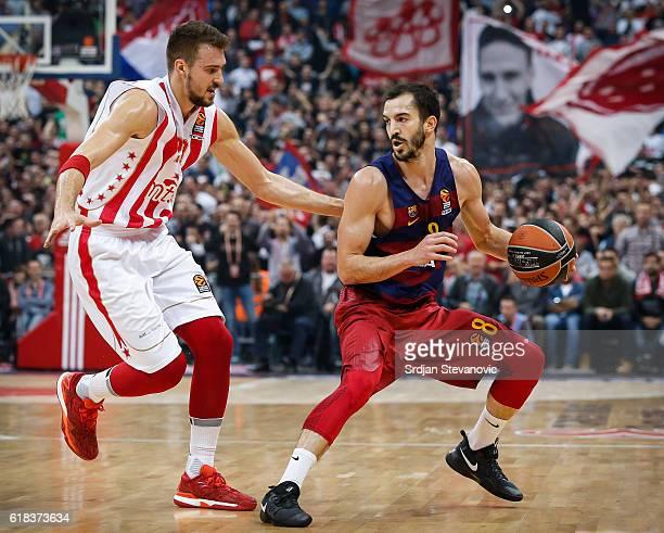 Pau Ribas of Barcelona Lassa in action against Marko Guduric of Crvena Zvezda during the 2016/2017 Turkish Airlines EuroLeague Regular Season Round 3...