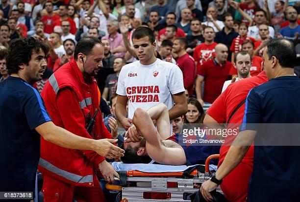 Pau Ribas of Barcelona Lassa receive medical help during the 2016/2017 Turkish Airlines EuroLeague Regular Season Round 3 game between Crvena Zvezda...
