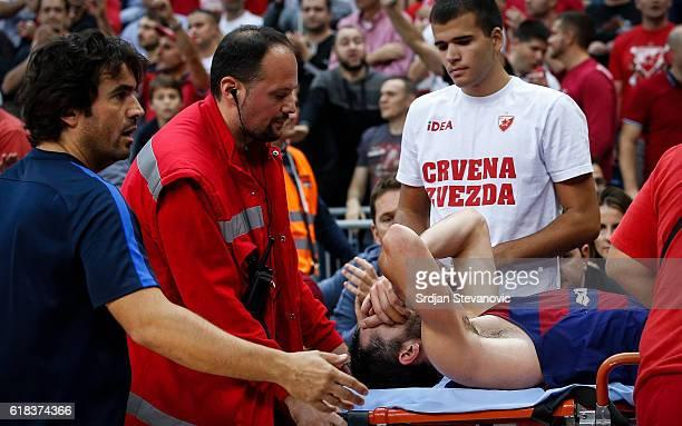 Pau Ribas of Barcelona Lassa receives medical help during the 2016/2017 Turkish Airlines EuroLeague Regular Season Round 3 game between Crvena Zvezda...