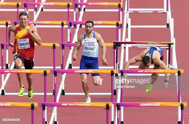 Pau Tonnesen of Spain Ashley Bryant of Great Britain and Mihail Dudas of Serbia compete in the Men's Decathlon 110 metres hurdles during day nine of...