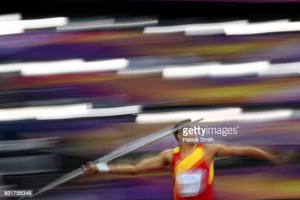 Pau Tonnesen of the Spain competes in the Men's Decathlon Javelin during day nine of the 16th IAAF World Athletics Championships London 2017 at The...