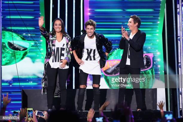 Pau Zurita Juanpa Zurita and Andy Zurita speak onstage during the Nickelodeon Kids' Choice Awards Mexico 2017 at Auditorio Nacional on August 19 2017...