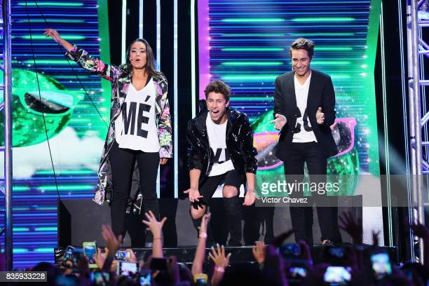 Pau Zurita Juanpa Zurita and Andy Zurita speak onstage during the Nickelodeon Kids' Choice Awards Mexico 2017 at Auditorio Nacional on August 19 2017...