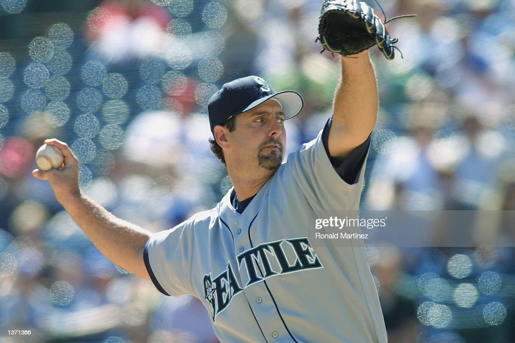 Paul Abbott of the Seattle Mariners pitches during the game against the Texas Rangers on September 26 2001 at The Ballpark in Arlington in Arlington...