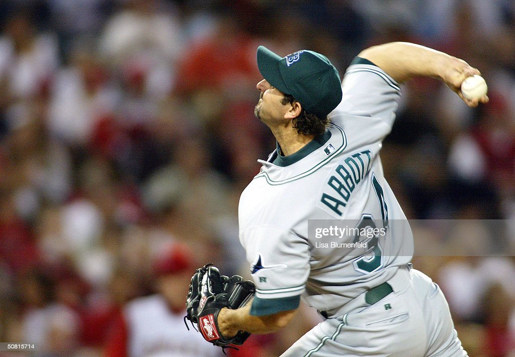Paul Abbott of the Tampa Bay Devil Rays pitches against the Anaheim Angels during the first inning on May 8 2004 at Angel Stadium in Anaheim...