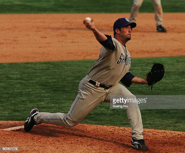 Paul Abraham of the San Diego Padres pitches a ball during the game against the Los Angeles Dodgers at Beijing's Wukesong Stadium on March 16 2008 in...