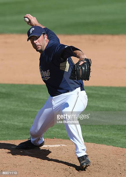 Paul Abraham of the San Diego Padres pitches during the game against the Kansas City Royals at Peoria Sports Complex February 29 2008 in Peoria...