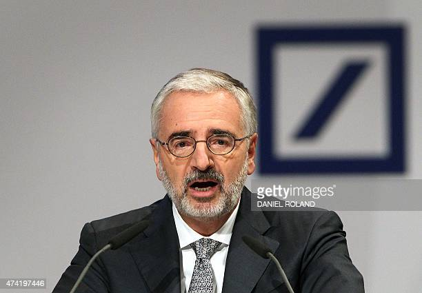 Paul Achleitner Chairman of the Supervisory Board of the Deutsche Bank addresses the annual shareholder meeting in Frankfurt/Main Germany on May 21...