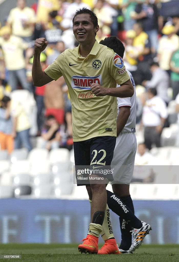 Paul Aguilar celebrates the first goal of his team scored by Pablo Aguilar during a match between America and Morelia as part of 5th round Apertura...