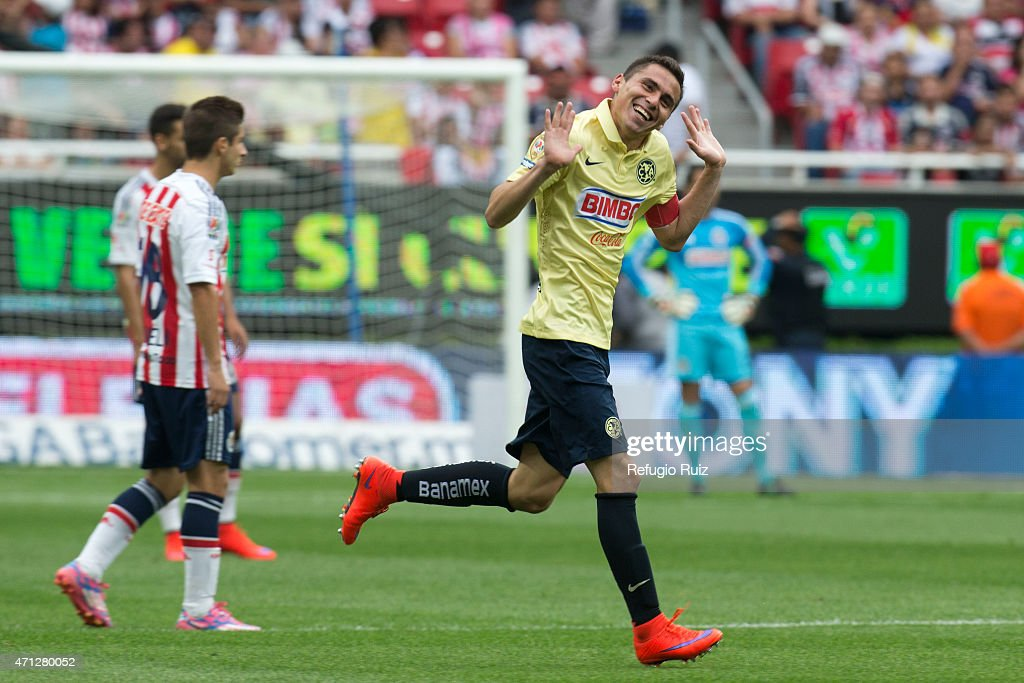 Paul Aguilar of America celebrates after scoring the first goal of his team during a match between Chivas and America as part of 15th round of...