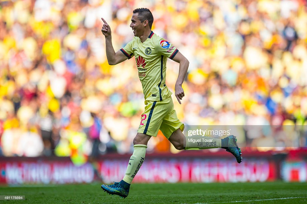 Paul Aguilar of America celebrates after scoring the first goal of his team during the 12th round match between America and Chiapas as part of the...