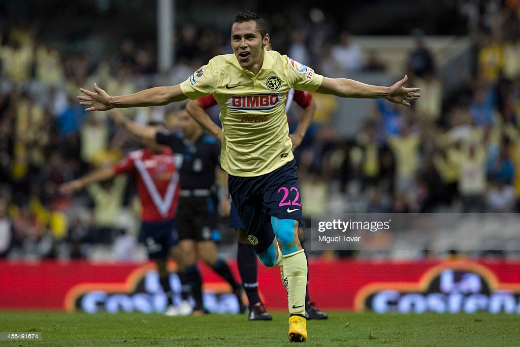 Paul Aguilar of America celebrates after scoring the second goal of his team during a match between America and Veracruz as part of 11th round...