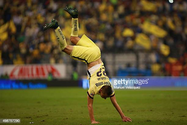 Paul Aguilar of America celebrates after scoring the second goal of his team during the quarterfinals first leg match between America and Leon as...