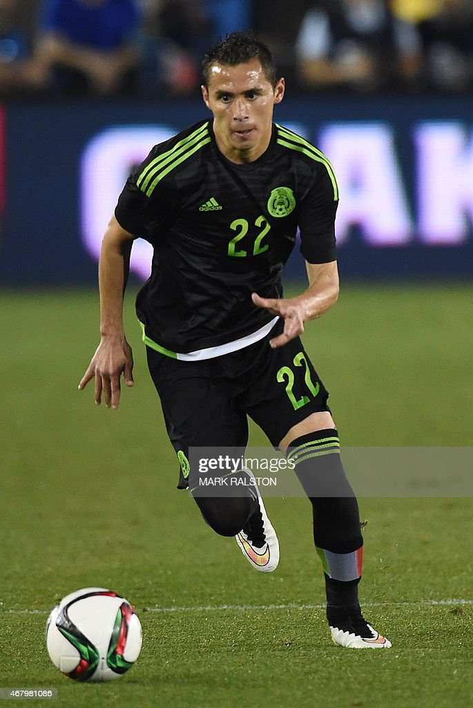 Paul Aguilar of Mexico controls the ball during a friendly football match against Ecuador at the LA Memorial Coliseum in Los Angeles California on...
