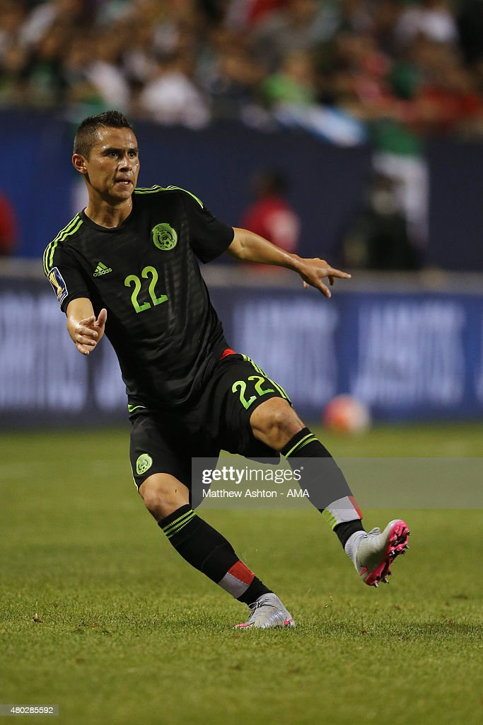 Paul Aguilar of Mexico during the CONCACAF Gold Cup match between Mexico and Cuba at Soldier Field on July 9 2015 in Chicago Illinois