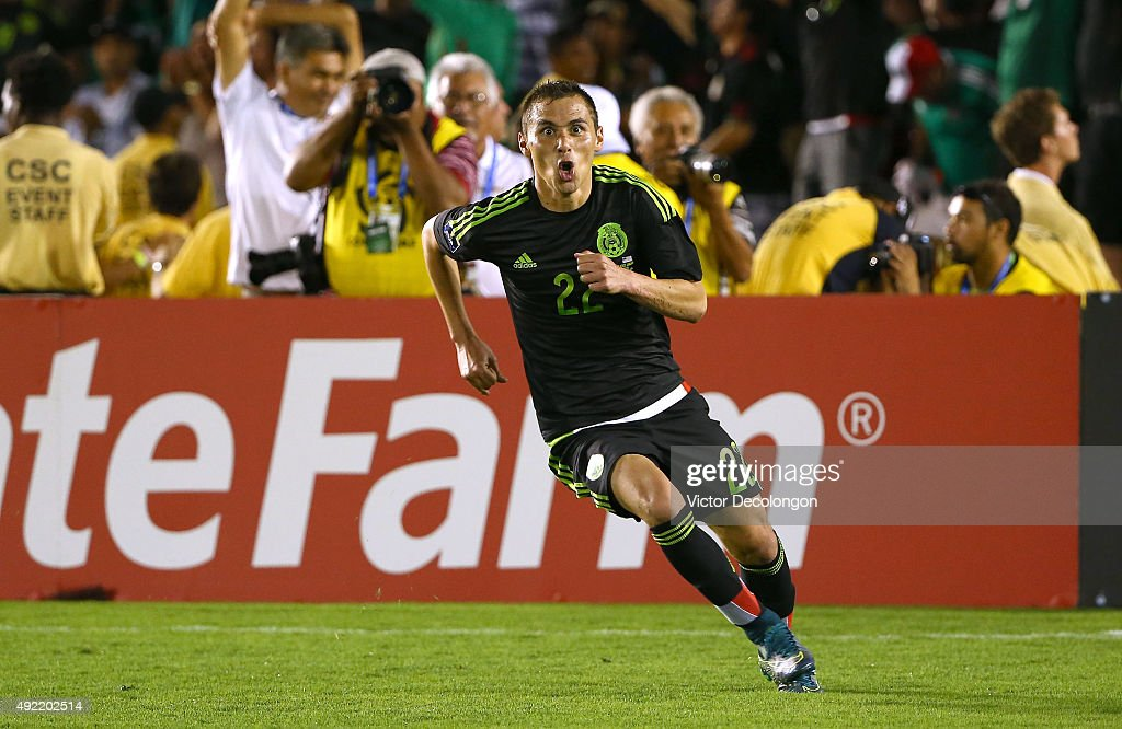 Paul Aguilar of Mexico reacts after scoring in the second half of extra time against the United States during the 2017 FIFA Confederations Cup...