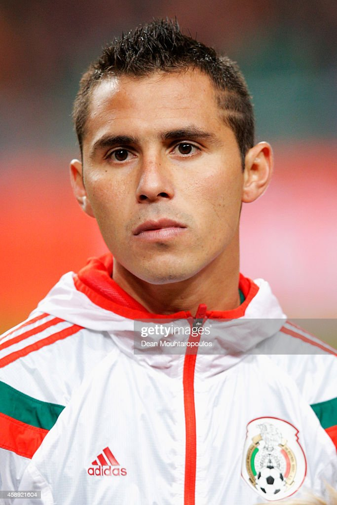 Paul Aguilar of Mexico stands for the national anthems prior to the international friendly match between Netherlands and Mexico held at the Amsterdam...