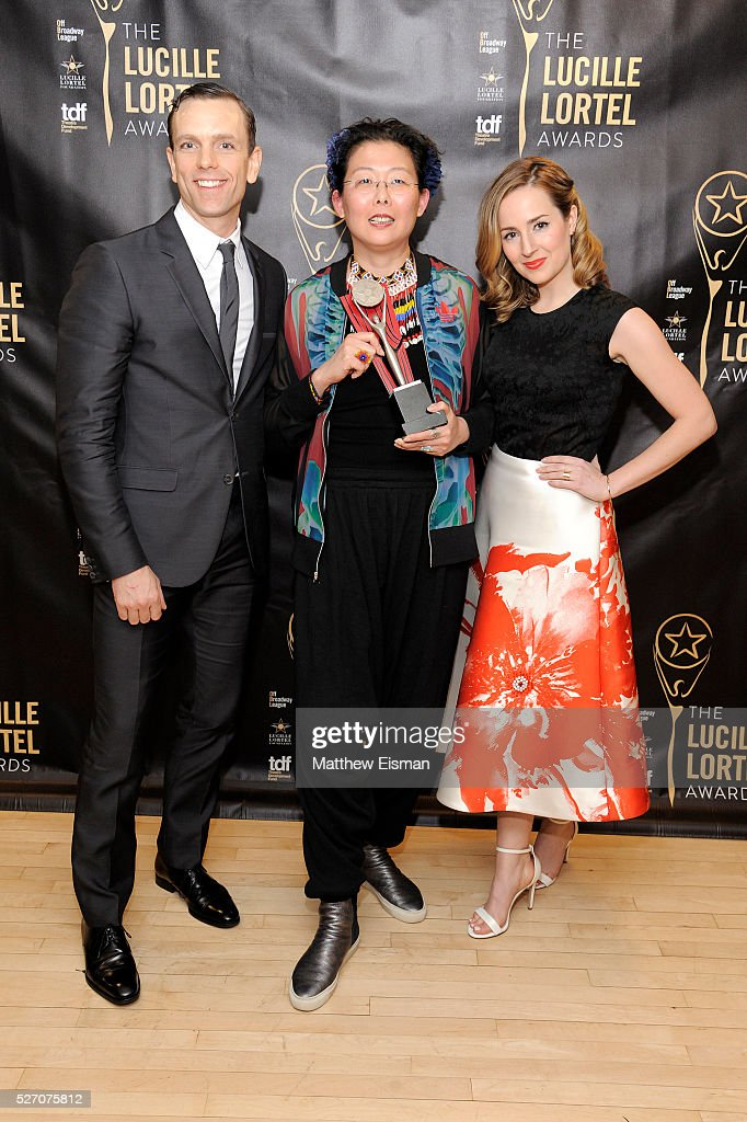 Paul Alexander Nolan, Anita Yavich and Hannah Elless attend the press room for the 31st Annual Lucille Lortel Awards at NYU Skirball Center on May 1, 2016 in New York City.
