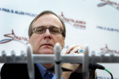 Paul Allen cofounder of Microsoft Corp listens during a news conference for the launch of his new venture Stratolaunch Systems Inc in Seattle...