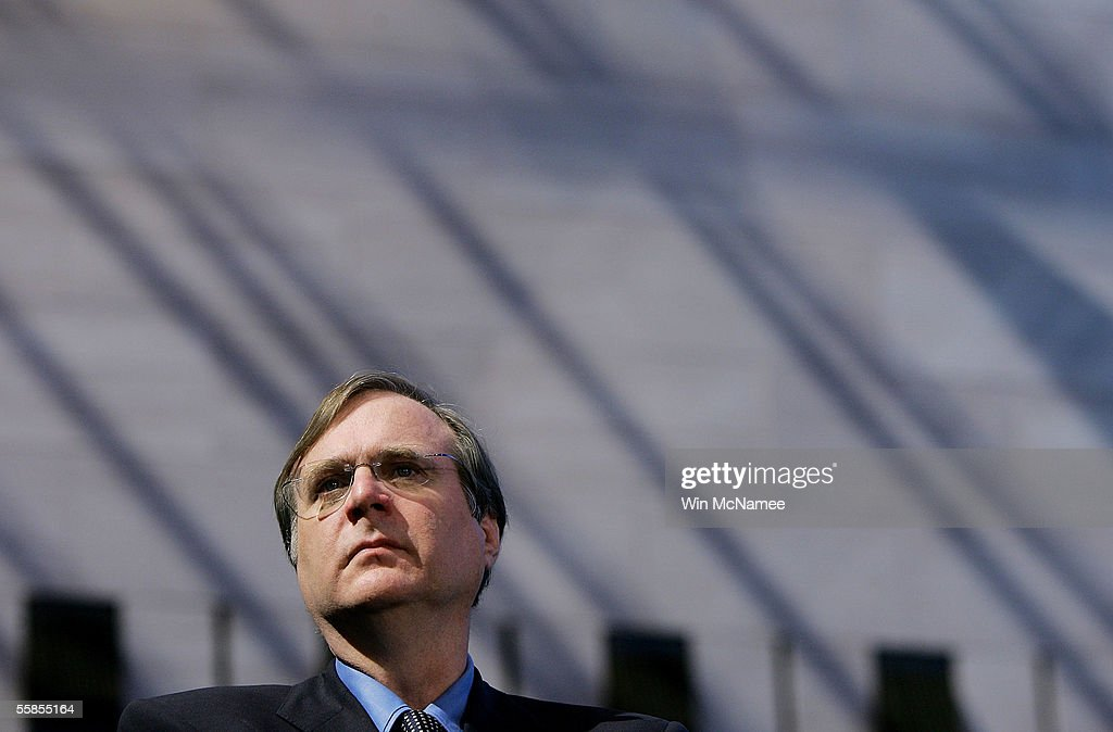 Paul Allen, founder of SpaceShipOne takes part in a news conference to mark the donation of SpaceShipOne to the National Air and Space Museum October 5, 2005 in Washington, DC. SpaceShipOne was the first privately built and piloted vehicle to reach space and will be on permanent display between Charles Lindbergh's Spirit of St. Louis and Chuck Yeager's Bell X-1.