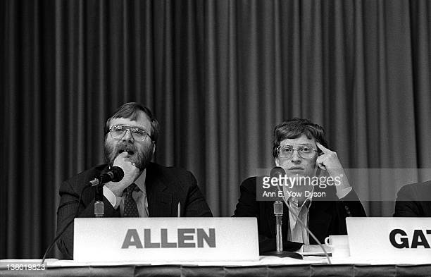 Paul Allen from Asymetrix Corporation/Vulcan Inc and Bill Gates from Microsoft at the annual PC Forum Phoenix Arizona February 2225 1987