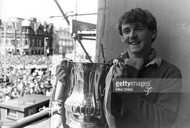 Paul Allen of West Ham United holds the FA Cup Trophy at the Civic reception being held in the team's honour West Ham United won the trophy with a 10...