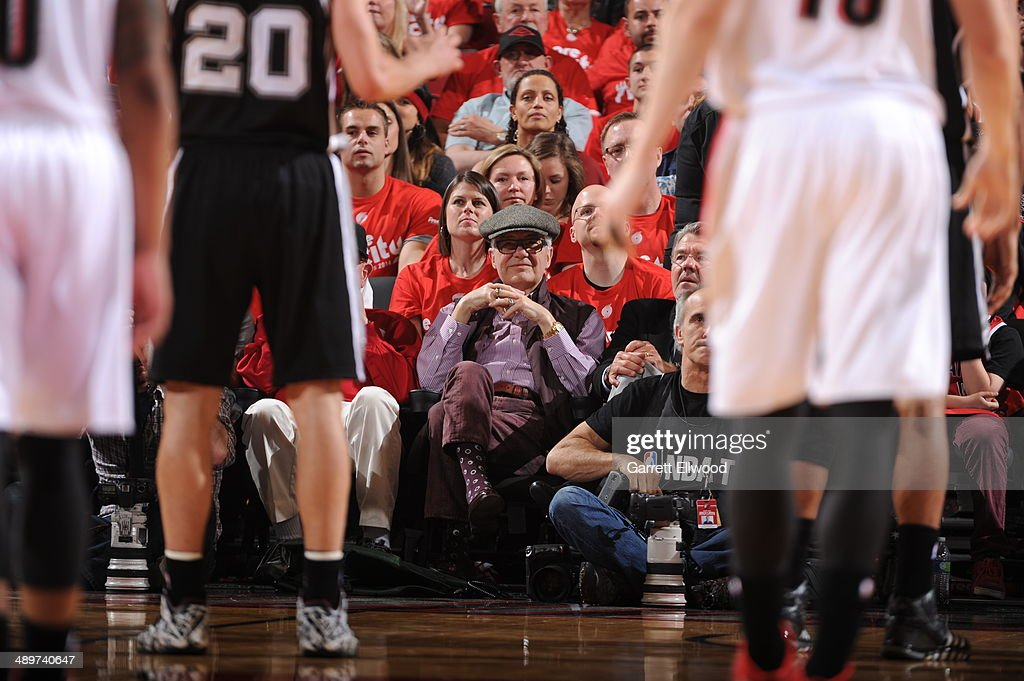 Paul Allen, owner of the Portland Trailblazers watches Game Three of the Western Conference Semifinals against the San Antonio Spurs during the 2014 NBA Playoffs on May 10, 2014 at the Moda Center in Portland, Oregon.