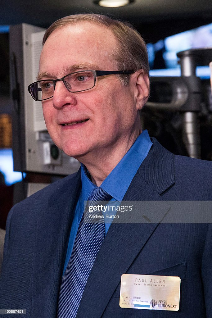 Paul Allen, owner of the Seattle Seahawks, arrives on the floor of the New York Stock Exchange (NYSE) on the morning of January 30, 2014 in New York City. The NYSE welcomed members of the Super Bowl Host Committee, owners and managers of the Denver Broncos and Seattle Seahawks to ring the opening bell today.
