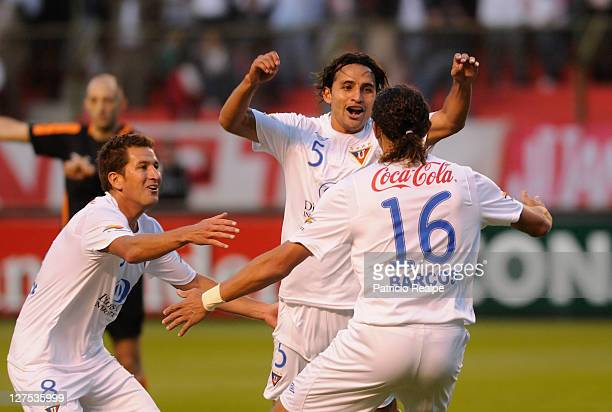 Paul Ambrosi of Liga Deportiva Universitaria celebrates his goal against Independiente during a match as part of Copa Bridgestone Sudamericana 2011...