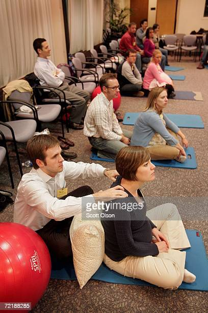 Paul and Lara Zalmezak practice relaxation during a birthing class at Northwestern Memorial Hospital October 16 2006 in Chicago Illinois The US...