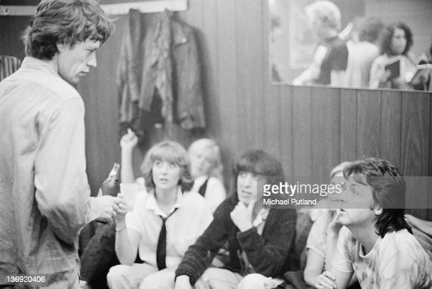 Paul and Linda McCartney backstage with Mick Jagger and Bill Wyman at a Rolling Stones concert at The Palladium New York City 19th June 1978