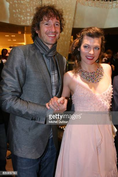 Paul Anderson and Milla Jovovitch attend the opening of the new Bulgari Jewelry store on September 30 2008 in Paris France