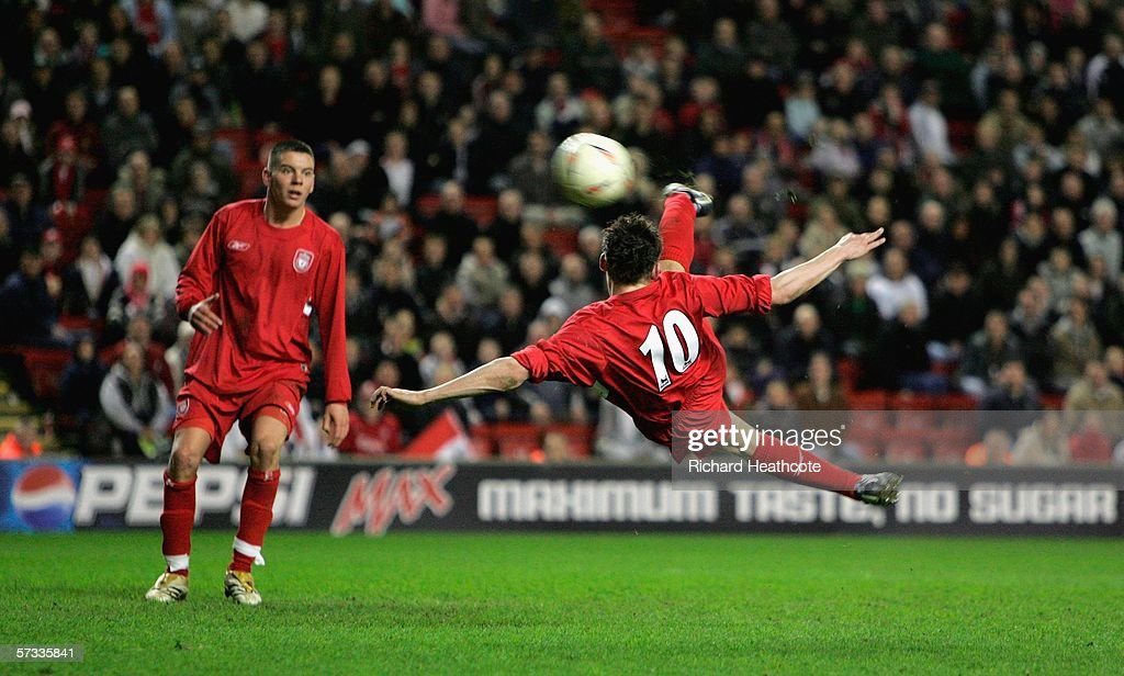 Paul Anderson of Liverpool unleashes a bicycle kick shot at goal during the FA Youth Cup Final 1st Leg match between Liverpool and Manchester City at...