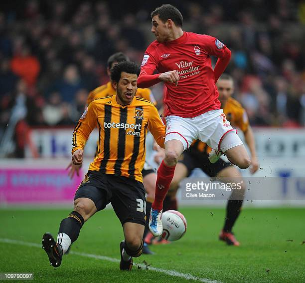 Paul Anderson of Nottingham Forest attempts a shot on goal with his heel during the npower Championship match between Nottingham Forest and Hull City...