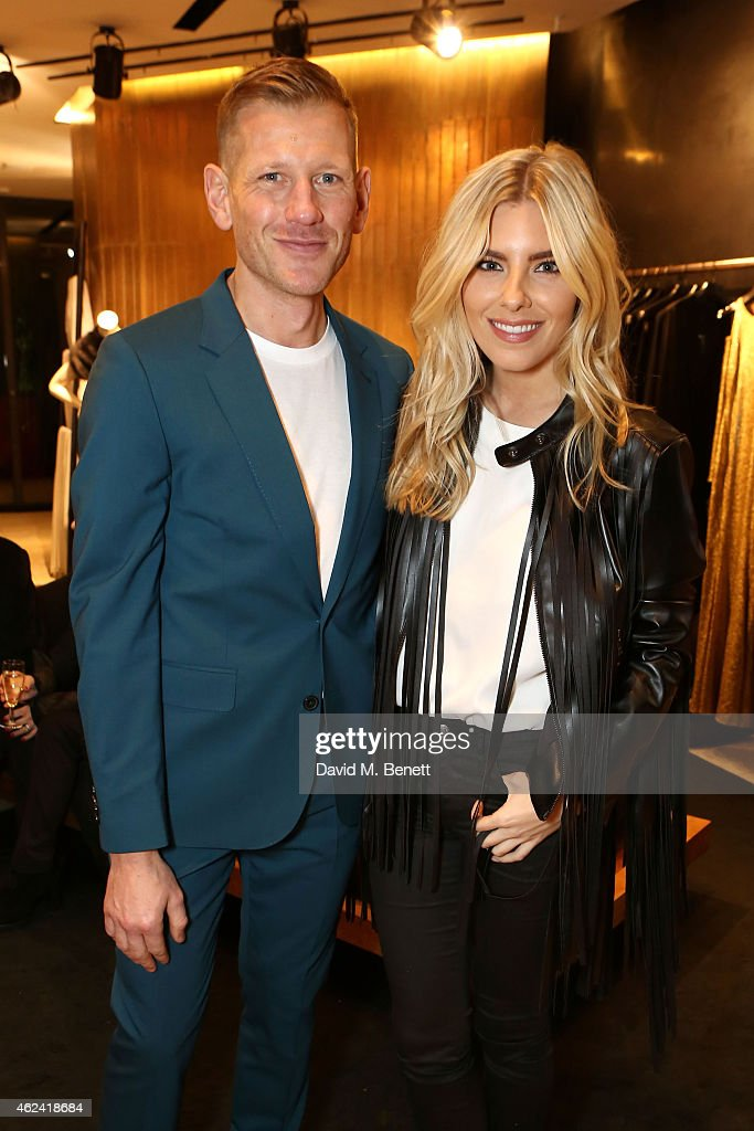 Paul Andrew and Mollie King attend the launch of the Paul Andrew popup at the Donna Karan New York Store hosted by Paul Andrew and Caroline Issa on...