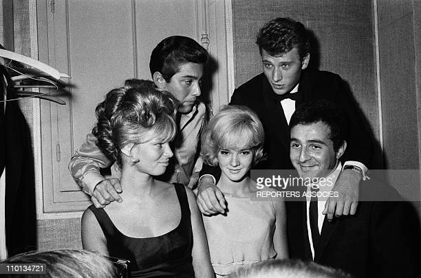 Paul Anka after his show at the Olympia with Sylvie VartanJohnny Hallyday and Richard Anthony on September 13th1963