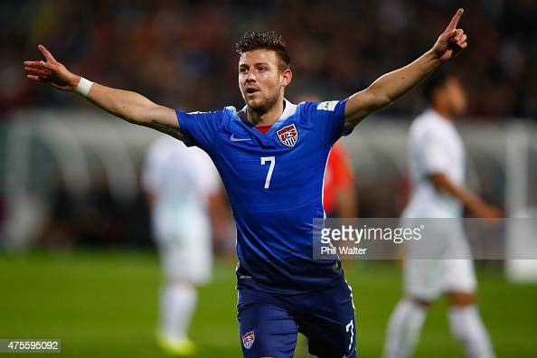 Paul Arriola of the USA celebrates his goal during the FIFA U20 World Cup New Zealand 2015 Group A match between New Zealand and the United States at...