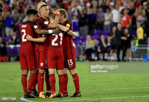 Paul Arriola of United States celebrates a goal during the 2018 FIFA World Cup Qualifying match against Panama at Orlando City Stadium on October 6...